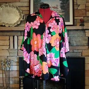 Vintage 1960'S Groovy Kimono Zip Up Poncho ? Top